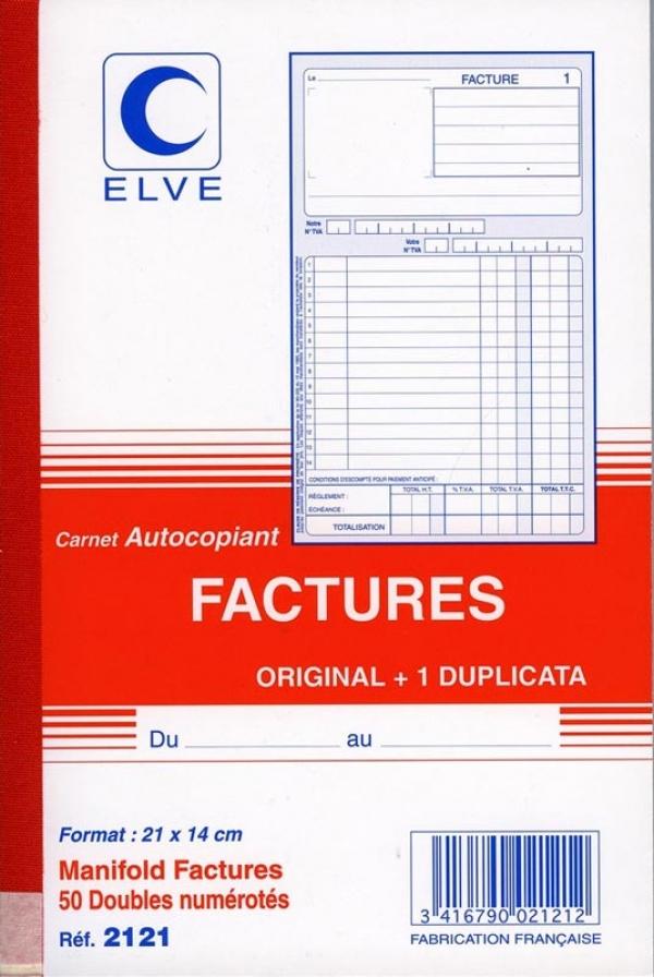 ELVE - Facturier - 50 feuilles - 140 x 210 mm - en double - numéroté